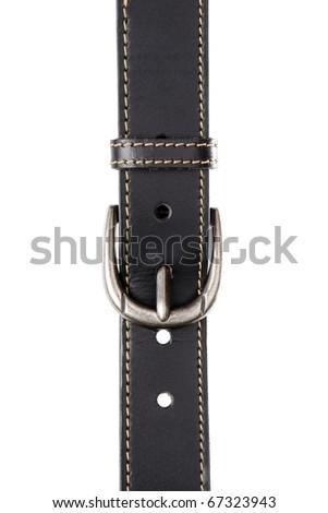 isolate classic black leather belt on white