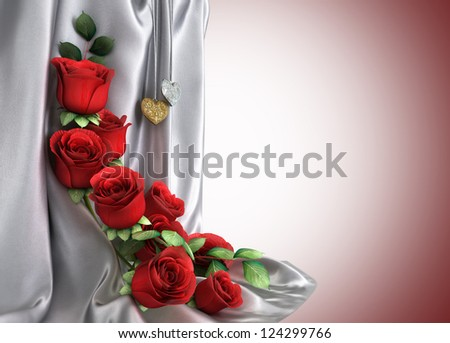 isolate holiday background with roses, jewellery and fabric