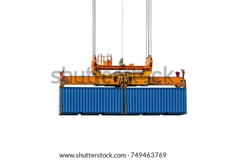 Isolate image twin lift spreaders pick up two container hanging in the sky.