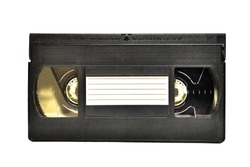 Isolate of an old video cassette on a white background close-up. isolate