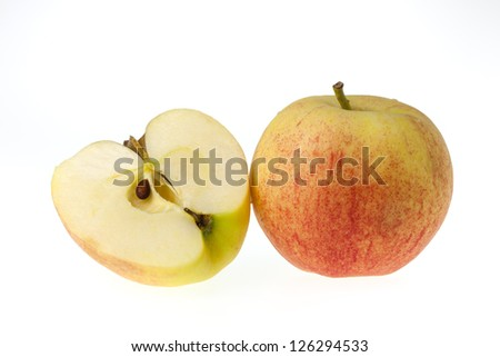 Isolate of the apple against white background