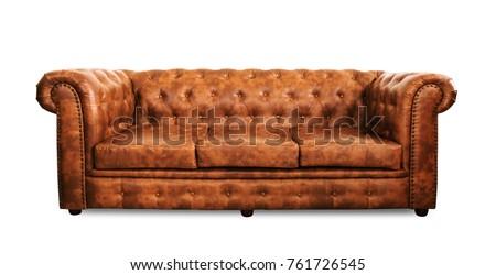 isolate seat leather sofa on white background