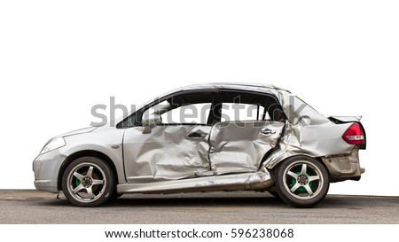 Isolate side of the car, the color of Braun White, which crashed with another car until it was demolished. #596238068