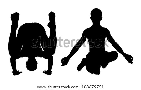Isolate the silhouette of a man in yoga position upside down. And standing with your toes.