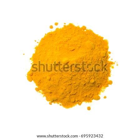 Shutterstock Isolate yellow turmeric/curcuma powder pile, top view closeup photo of yellow turmeric/curcuma powder pile isolate on white background present a texture on surface of yellow turmeric/curcuma pile