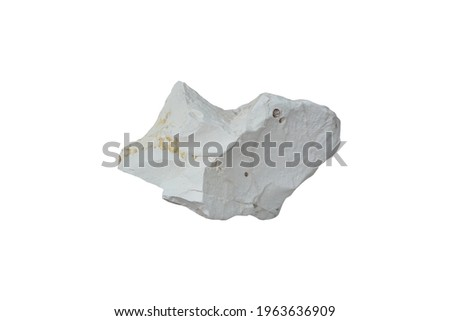 Isolated a piece of Diatomite sedimentary rock on white background. non-metallic mineral composed of the fossilised skeletal remains of microscopic single-celled aquatic plants called diatoms. Stockfoto ©