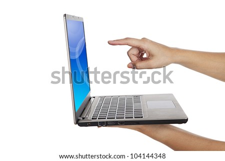 Isolated a woman hand holding a touchscreen ultrabook laptop computer