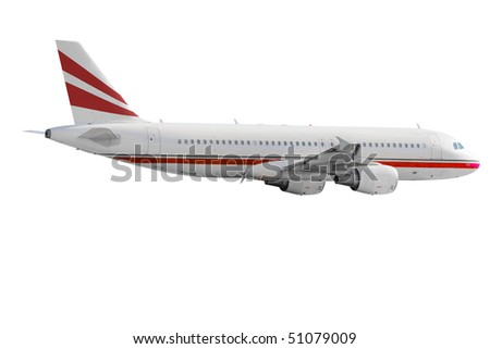 Isolated airplane - color design changed or removed - stock photo