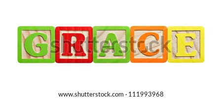 Isolated alphabet blocks in the name of Grace or concept of grace