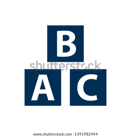 Isolated alphabet cubes icon symbol on clean background.  abc block element in trendy style.