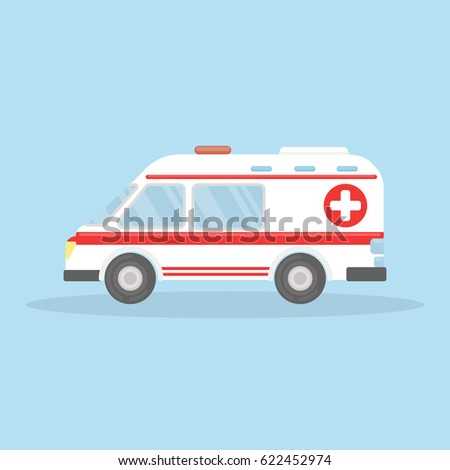 Isolated ambulance car on blue background. White car with red stripes, cross and siren.