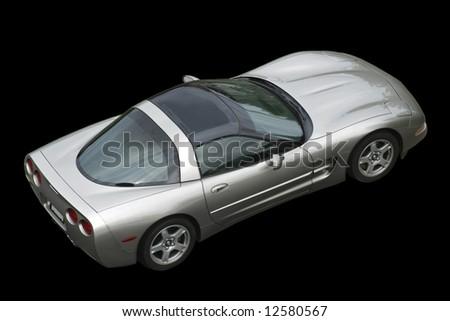 isolated american corvette on black