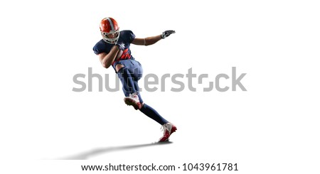 Isolated American football player in white background #1043961781
