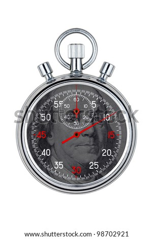 isolated analog chronometer on white background