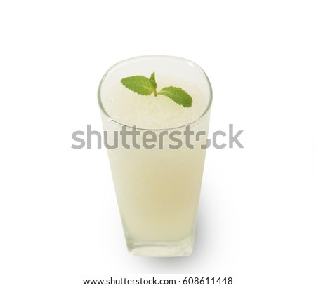 Isolated and clipping path of lemon juice smoothie. #608611448