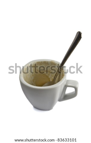 Isolated and empty cup of coffee