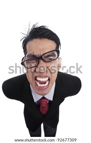 Isolated angry businessman on white background
