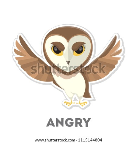 Stock Photo Isolated angry cartoon owl on white background.