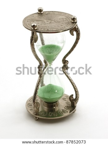 Isolated antique hourglass; concept of time passing