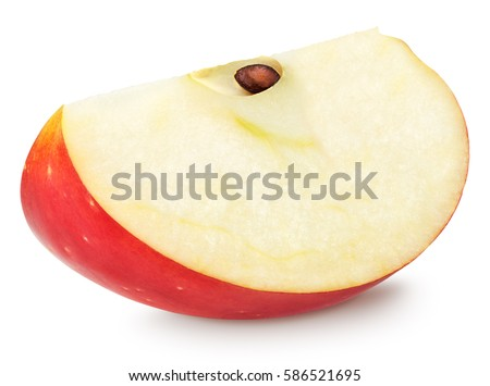 Isolated apple slice. Red apple fruit slice (cut) isolated on white with clipping path