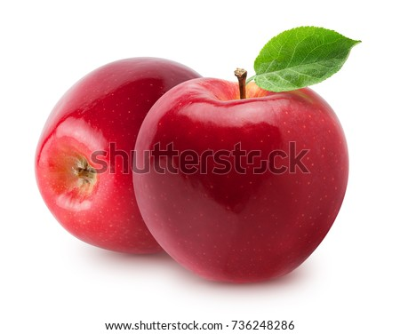 Isolated apples. Two whole red, pink apple fruit with leaf isolated on white with clipping path