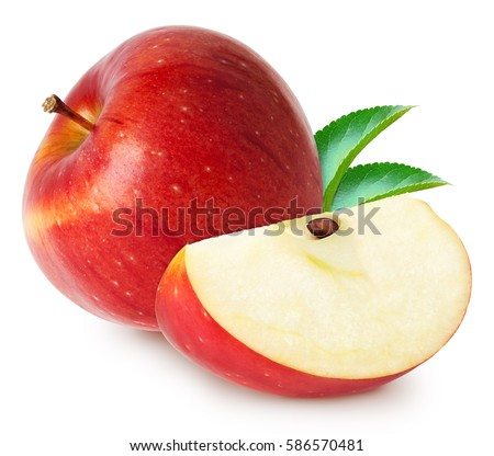 Isolated apples. Whole red apple fruit with slice (cut) with leaves isolated on white with clipping path