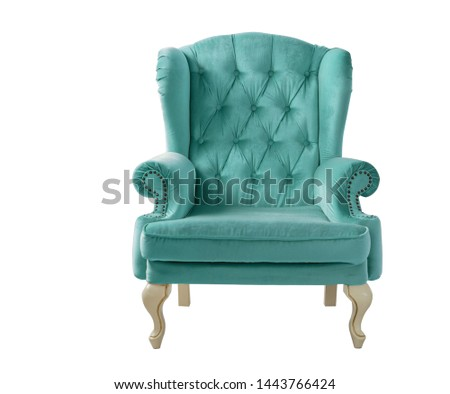 Isolated aquamarine armchair. Vintage mint velvet chair. Insulated furniture #1443766424