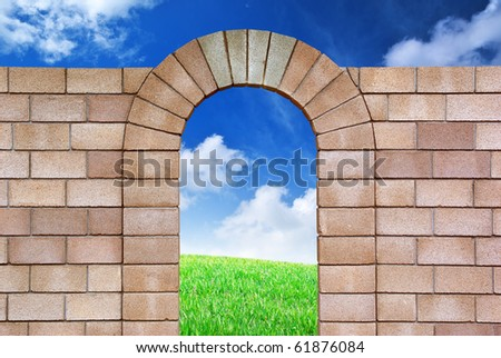 Isolated arch with. Objects with Clipping Paths. Element of design.