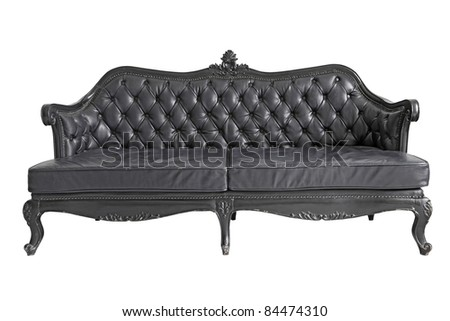 isolated Armchair black genuine leather classical style sofa with clipping path