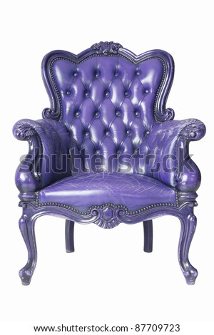 isolated Armchair purple genuine leather classical style sofa with clipping path