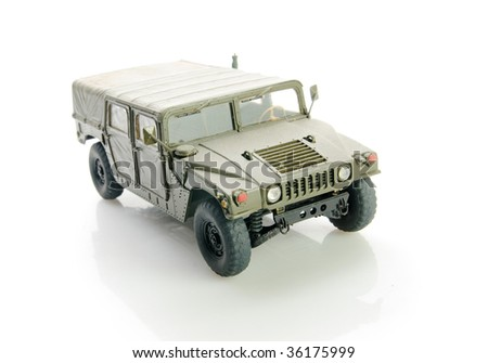 Isolated army hummer - stock photo