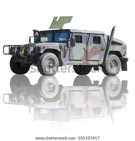 Isolated army humvee with clipping path