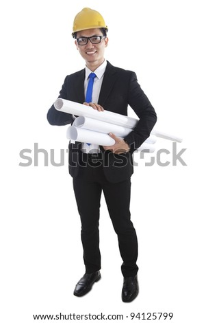 Isolated asian engineer with blueprints on white
