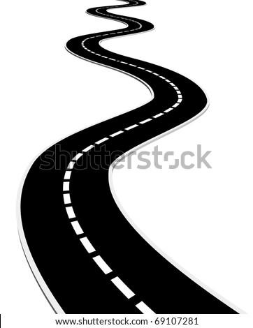 Isolated asphalt road
