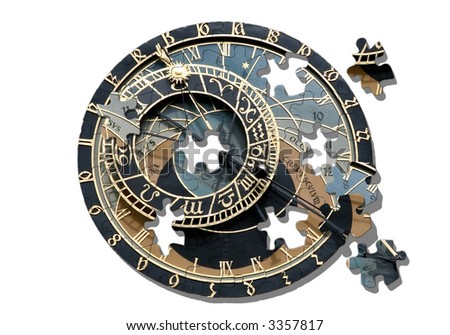 Isolated Astronomical clock in Prague. Jigsaw puzzle