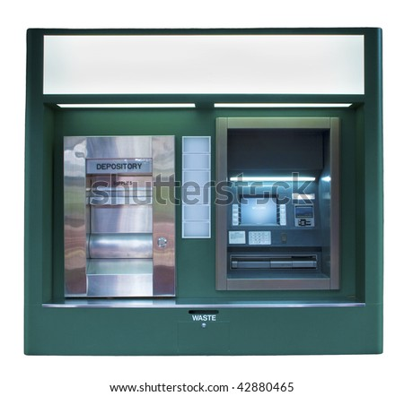 Isolated ATM Machine in a dark green color - stock photo