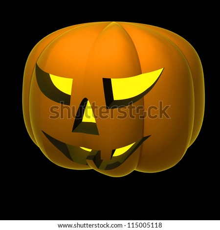 isolated autumn scary pumpkin smile render shaded on black illustration