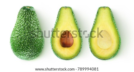 Isolated avocado. Whole avocado fruit and two halves in a row isolated on white background with clipping path