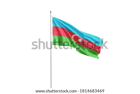 Isolated Azerbaijan flag waving in the wind on white background. Azerbaijan national flag close-up. 3D rendering