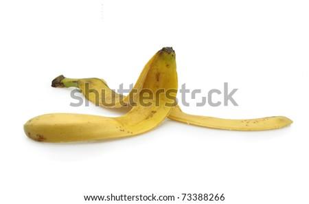 isolated banana peel on white