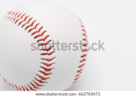 Isolated baseball on a white background and red stitching baseball. White baseball with red thread.Baseball is a national sport of Japan. It is popular.