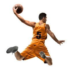 Isolated basketball player in action with a ball on white background