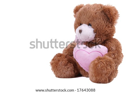 isolated bear toy with heart