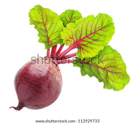 Isolated beet. One raw red beetroot with leaves isolated on white background