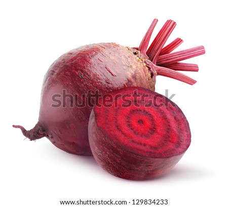 Isolated beet. Whole red beetroot and a half isolated on white background