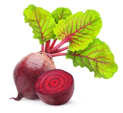 Isolated beetroot. One fresh red beet with leaves and a half isolated on white background
