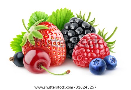 isolated berries. Various summer berries (strawberry, cherry, raspberry, blackberry, blueberry and black currant) over white background with clipping path