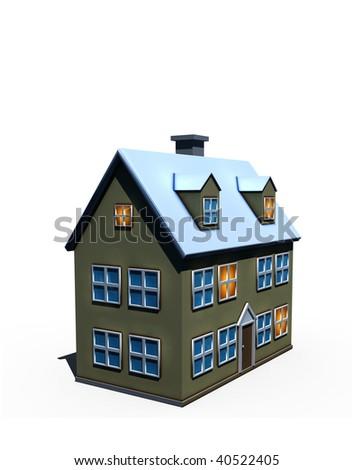 isolated big house - 3d render illustration on white