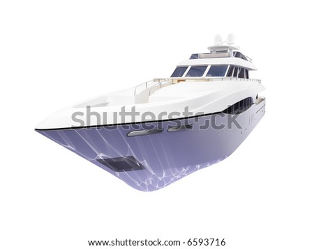 isolated big yacht on white background