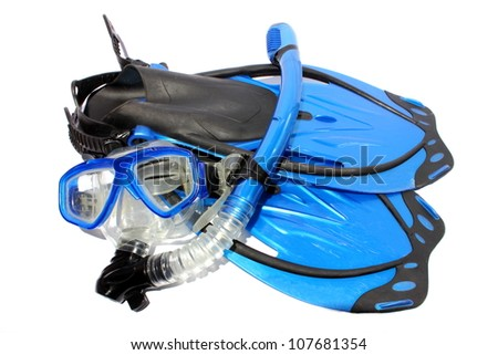 Isolated black and blue fins, snorkel, and mask used for snorkeling and diving.
